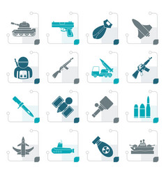 stylized army weapon and arms icons vector image