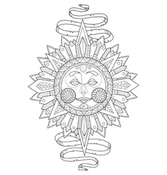 Sun with face coloring book vector