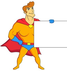 Superhero with blank sign vector