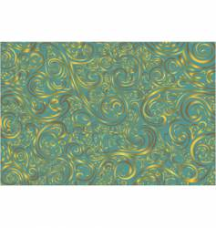 teal and gold scroll work vector image