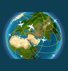 The earth with aircraft paths vector
