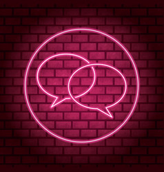Thought bubble pink neon vector