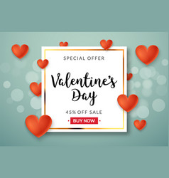 valentines day sale banner background with vector image