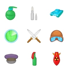 War equipment icons set cartoon style vector image