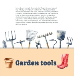 Watercolor garden tools set vector