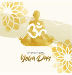 Watercolor yoga day card woman in lotus pose vector