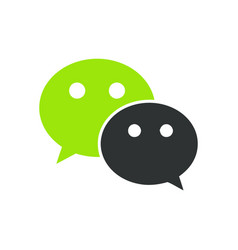 wechat web icon comments color green icon vector image