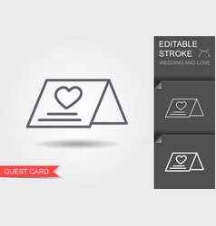 wedding guest card line icon with shadow and vector image