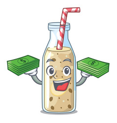 With money healthy banana smoothie in cartoon vector