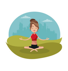 Woman yoga lotus urban background vector