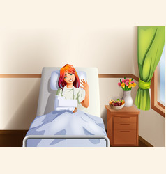 Young woman in a hospital bed with broken hand vector