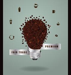 Creative light bulb ideas with coffee beans vector image vector image