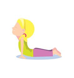 little girl doing yoga asana vector image