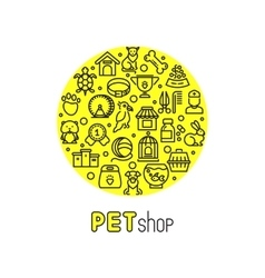 Pet shop and vet clinic logo with line vector image