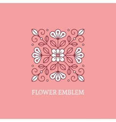 Square floral logo template vector image vector image