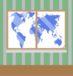 View from window to map world vector image vector image