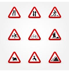 Warning traffic signs vector image vector image