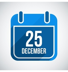 December 25 Calendar Icon Flat Icon With Long vector image vector image
