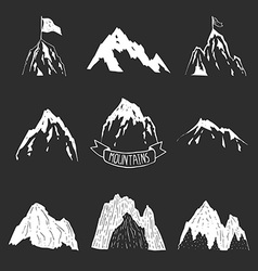 Mountains collection hand drawn mountain set vector image