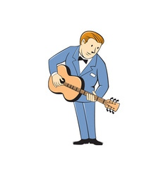 Musician Guitarist Standing Guitar Cartoon vector image vector image
