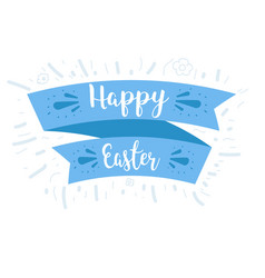 ribbon and blue lettering happy easter vector image