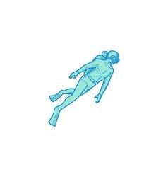 Scuba Diver Diving Mono Line vector image