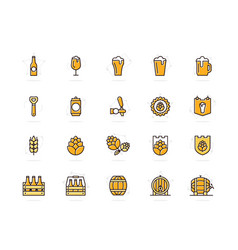 set of beer and bar pub colored line icons vector image vector image