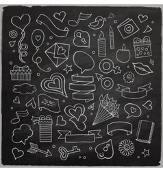Set of love doodle icons vector image