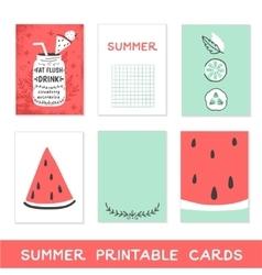 Summer printable cards detox fat flush water vector