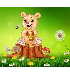 Cute little bear holding honey on tree stump vector image