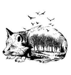 Double exposure silhouette of fox and forest vector image vector image