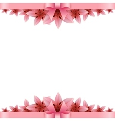 Lily flower Banner with pink bow on a white vector image vector image