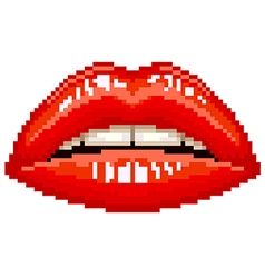 Pixel red woman lips isolated vector image vector image