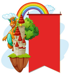 red banner with dragon at the tower vector image