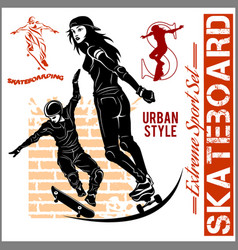 skateboarders - set of extreme sport vector image vector image