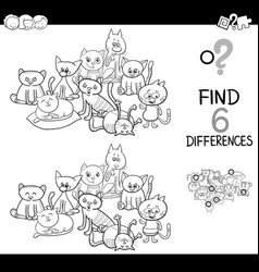 Spot the difference with cats coloring book vector