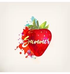 Watercolor strawberry vector