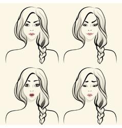Woman facial emotions set vector image vector image