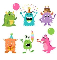 Birthday monsters vector image