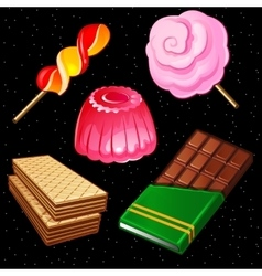 Compositions of sweets five different icons vector image vector image