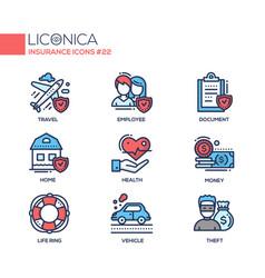 insurance - coloured modern single line icons set vector image