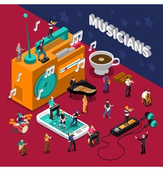 Musicians People Isometric Composition vector image