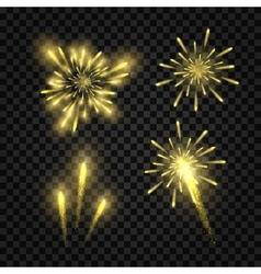 Set of isolated golden festive fireworks vector