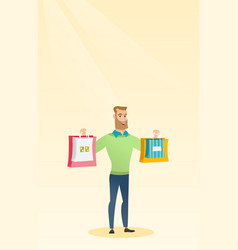 Young caucasian man holding shopping bags vector