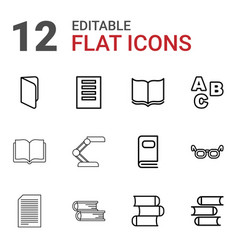 12 reading icons vector