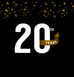 20 years anniversary number with gold ribbon vector