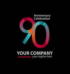 90 year anniversary celebration company template vector