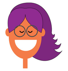 A laughing skinny girl with purple-colored lilac vector