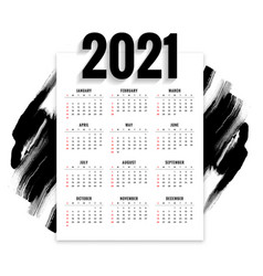 Abstract 2021 new year calendar with black vector