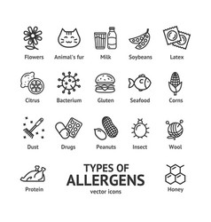 Allergens signs black thin line icon set vector